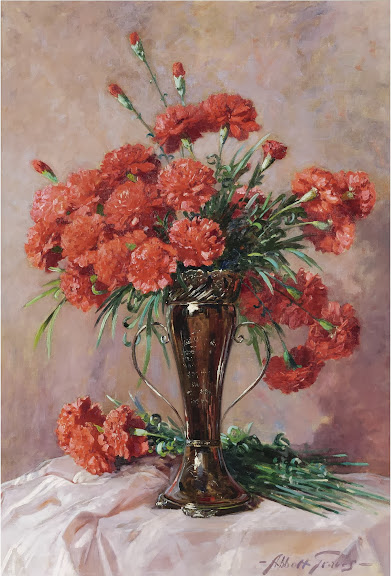 Abbott Fuller Graves - Red Carnations In A Silver Vase