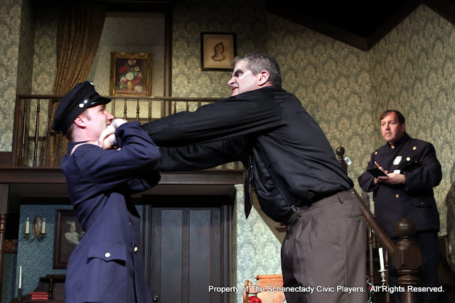 Michael Rzepka, Daniel Martin and John Quinan in ARSENIC AND OLD LACE (R) - May 2011.  Property of The Schenectady Civic Players Theater Archive.