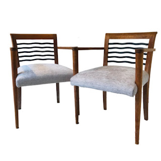 Modern Oak Armchair Pair