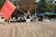 Alex Lesli With Ussr Flag On Beach