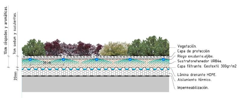 Descripción constructiva de la cubierta vegetal Cántir cubierta vegetal cubiertas vegetales techos verdes green roof