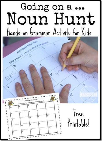Going on a Noun Hunt - This is such a fun grammar activities elementary for nouns first grade, 2nd grade, 3rd grade kids to practice nouns. (nouns activities, homeschooling)