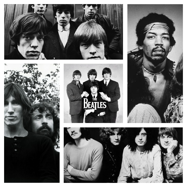 Top 5 Rock Bands On vinyl, The Beatles, Led Zepplin, Pink Floyd, The Rolling Stones, Jimi Hendrix