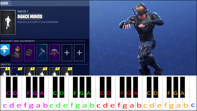 Fortnite Default Dance Piano Letter Notes