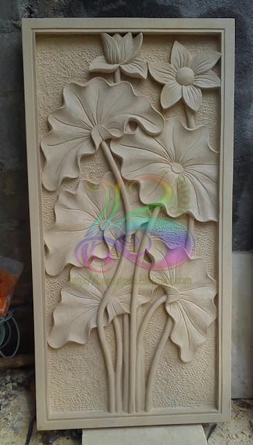 Relief lotus batu paras putih jogja