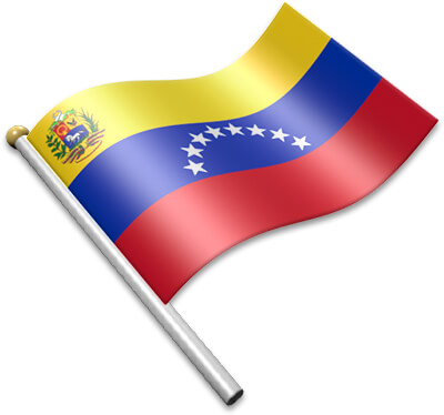 The Venezuelan flag on a flagpole clipart image