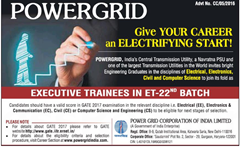 POWERGRID Executive Trainees GATE 2017 www.indgovtjobs.in
