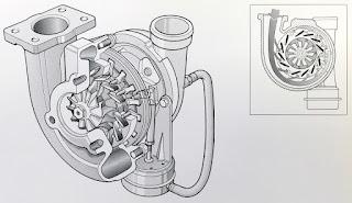 Sopra, il sistema con turbina a geometria variabile che veniva impiegato già sulla Fiat Croma 2.0 TD i.d. del 1985.