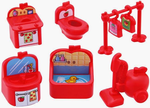 Bộ thiết bị nhà tắm của Koeda-chan bao gồm nhiều vật dụng xinh xắn màu đỏ
