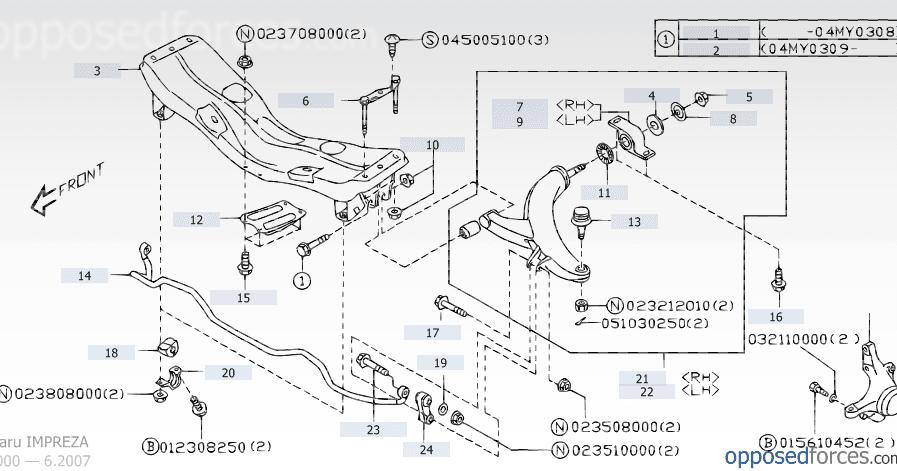Scoobylab  Sub  Lower Front Suspension   Engine Mount Diagram