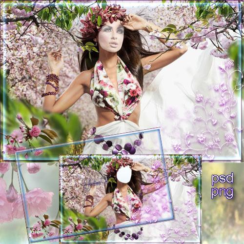 Женский фотошаблон и рамка PNG - Фея весеннего сказочного леса