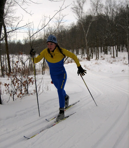 Deer River skier out in front showing good form in girls varsity classic.
