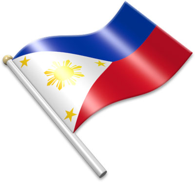 The Philippine flag on a flagpole clipart image
