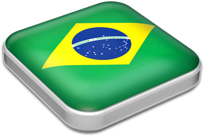 Flag of Brazil with metallic square frame