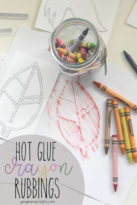 Hot Glue Crayon Rubbings at GingerSnapCrafts.com #crayon #kids #kidcrafts #hotgluehacks