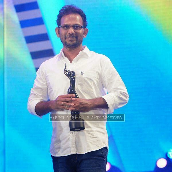 Madhu Vasudev won Best Lyrics Award for the song 'Ottakku Padunna' in movie Nadan during the 61st Idea Filmfare Awards South, held at Jawaharlal Nehru Stadium in Chennai, on July 12, 2014.