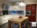cucina La Casa Moderna modello Asia laccata bianca e rossa con tavolo in massello di rovere visibile nella nostra esposozione di Zogno Bergamo
