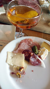 Clyde Common + Olympia Provisions charcuterie plate, here the board also happened to include some Ancient Heritage Dairy cheeses, here with Barrel Aged El Presidente with rum, blanc vermouth, Grand Marnier, grenadine aged for three months ina  bourbon whiskey barrel