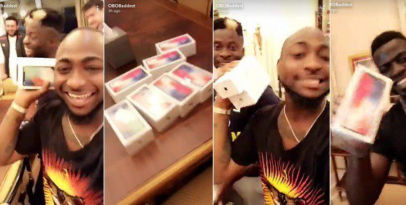 Davido Buys iPhone X for all of His Team Members (Photos)