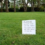 Please do not step on the grass. The grass will be very upset if you do Пожалуйста не ступайте на траву Траве будет очень обидно, если Вы сделаете это