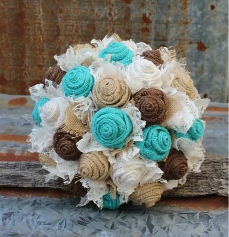 rustic burlap wedding bouquet