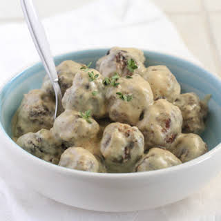 Homemade Party Meatballs with Sweet and Spicy Mustard Cream Sauce.