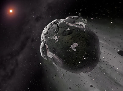ilustração de um asteroide orbitando o Sol