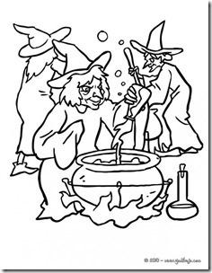 Brujas de Halloween Dibujos para colorear los niños