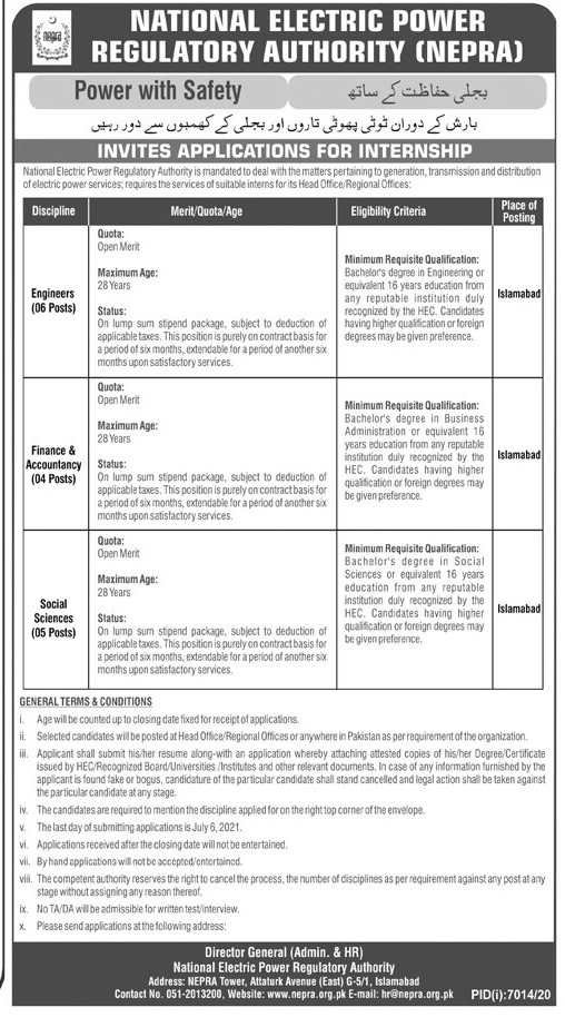 NEPRA Jobs 2021 National Electric Power Regulatory Authority Advertisement