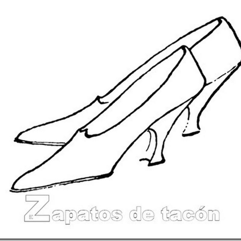 Colorear zapatos de tacón dibujos blanco y negro