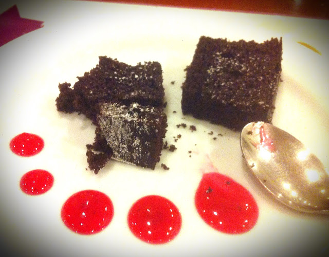 Chocolate Brownie with Strawberry Coulis