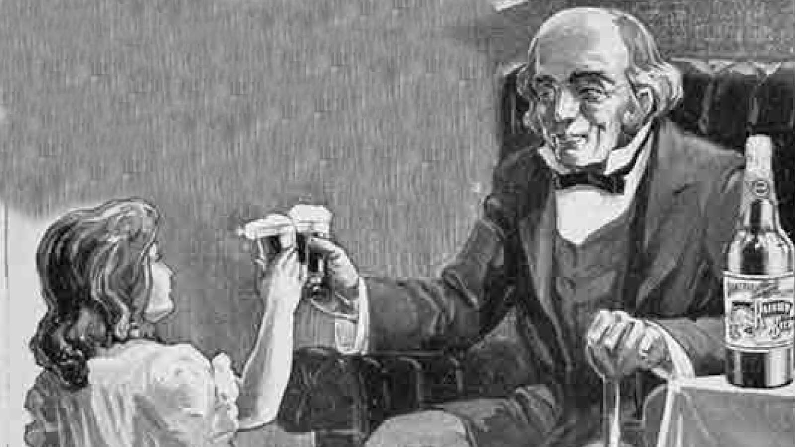 Seleção de propagandas antigas que mostram ofertas de cervejas para crianças
