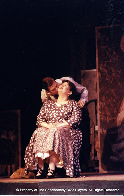 Pat Kerton and Christopher Foster in LOOK HOMEWARD, ANGEL (R) - March 1994.  Property of The Schenectady Civic Players Theater Archive.