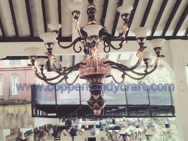 kerajinan lampu robyong logam kuningan