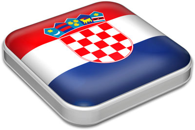 Flag of Croatia with metallic square frame