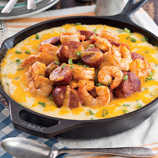 Baked Creole Shrimp and Grits.