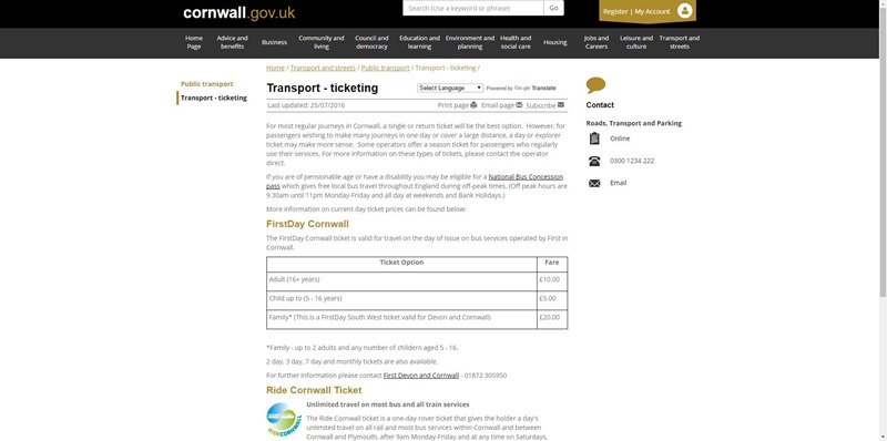 Transport - ticketing - Cornwall Council