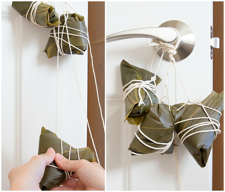 photo showing how to hang the dumplings from a door knob