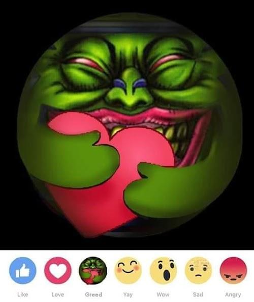 Ảnh chế Facebook reaction Thương Thương Greed