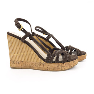 Prada Bamboo Cork Wedge Platform Sandals
