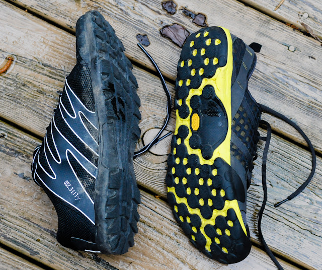 New Balance Minimus Trail and the Inov-8 f-lite 230 outsoles compared