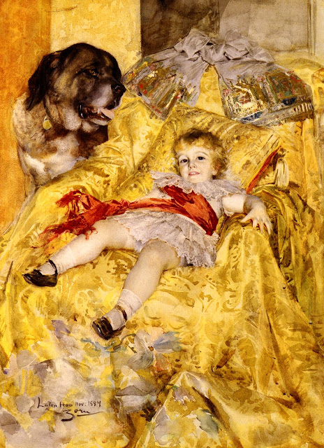 Anders Zorn - A Portrait Of Christian De Falbe With A Saint Bernard At Luton Hoo