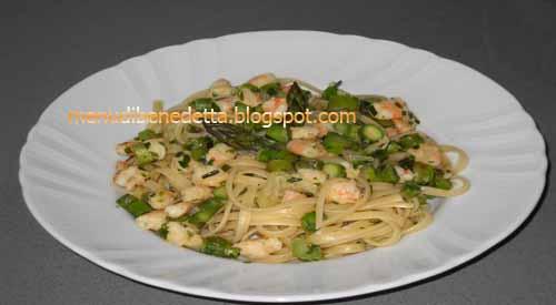 Bavette gamberi ed asparagi