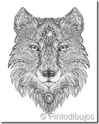 Mandala de lobo para colorear