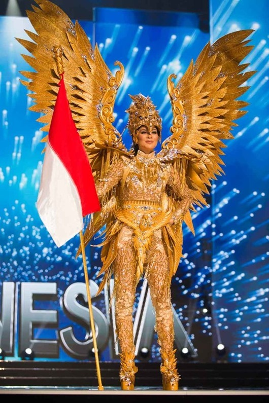 Kezia Warouw, Miss Indonesia 2016 debuts her National Costume on stage at the Mall of Asia Arena on Thursday, January 26, 2017.  The contestants have been touring, filming, rehearsing and preparing to compete for the Miss Universe crown in the Philippines.  Tune in to the FOX telecast at 7:00 PM ET live/PT tape-delayed on Sunday, January 29, live from the Philippines to see who will become Miss Universe. HO/The Miss Universe Organization