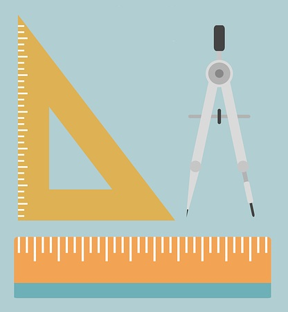 Drafting tools - triangle, compass, ruler.