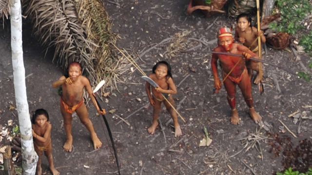 Uncontacted tribe members in the Brazilian Amazon, filmed from the air in 2010. Photo: Gleison Miranda / FUNAI / Survival International