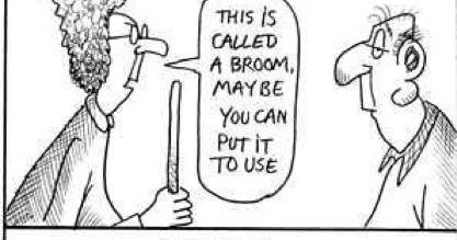 Broom Remote Joke ~ Silly Bunt