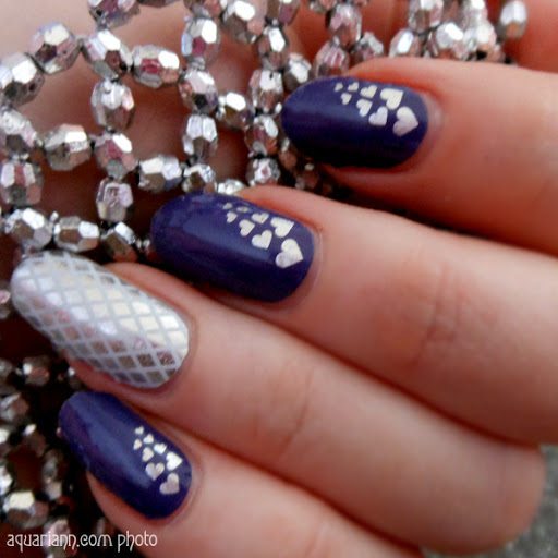 Silver Heart Nail Art