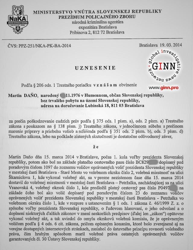 Obvinenenie NAKA, novinár Martin Daňo, strana 1